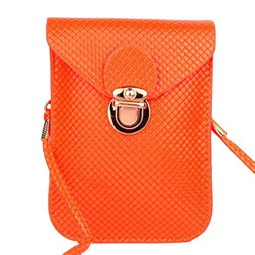 GSPStyle Damen Kunstleder Schultertasche Kleine Cross Body Stil Orange