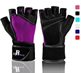 Weightlifting Gloves With Wrist Support - Workout Gloves With Wrist Padding For Lifting Weights, Cross Training, Power Lifting, Gym Gloves, Quality Lifting Gloves (Purple, Medium)
