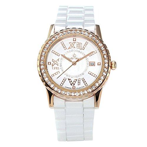Stella Maris Damen Armbanduhr - Analog Quarz - Premium Keramik Armband - Perlmutt Zifferblatt - Diamanten und Swarovski Elemente - STM18SM25