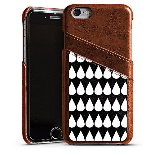 Apple iPhone 5s Housse Outdoor Étui militaire Coque Noir et blanc Gouttes Motif Étui en cuir marron