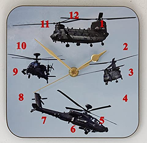 Helicopters - Wall Clock (19cm x 19cm)