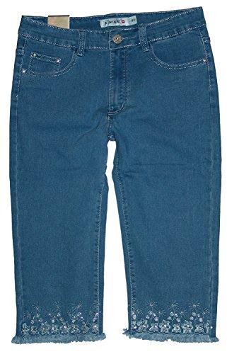 X-Max Damen 3/4 Stretch Capri Jeans Hose, Blau (mit Fransen) X-870, Gr.40 W32 (= Hersteller 42)