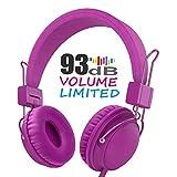 AILIHEN Casque Audio Enfants Limiteur de Son avec Port de Partage, Volume Max Limité, Télécommande et Microphone, Arceau Pliable Réglable pour iPad, iPod, Tablets, Smartphones PC ( HD850 Violet )