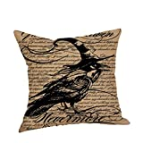 Kissenhülle Scary quadratisch schwarz Katze Vogel Eule Skelett Hexe bedrucktem Leinen dekorativer Überwurf-Kissenbezug Modern Vintage Halloween Crow für Sofa Bett Home Auto Cafe Shop Haunted House Decor 45 cm x 45 cm NEU 2017 Fashion 45,7 cm, Leinen, h, 45 cm*45 cm