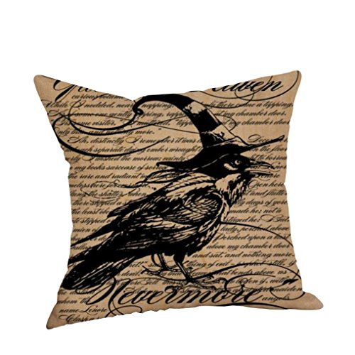 uadratisch schwarz Katze Vogel Eule Skelett Hexe bedrucktem Leinen dekorativer Überwurf-Kissenbezug Modern Vintage Halloween Crow für Sofa Bett Home Auto Cafe Shop Haunted House Decor 45 cm x 45 cm NEU 2017 Fashion 45,7 cm, Leinen, h, 45 cm*45 cm (Halloween 2017 Datum)