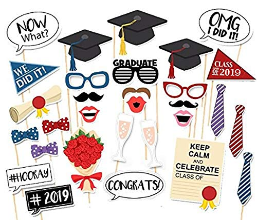 Veewon Nuove 2019 Graduation Photo Booth Puntelli Del Partito Occhiali Moustache Red Lips Papillon Su Bastoni Laurea Decorazioni Della Festa, 30 Pezzi
