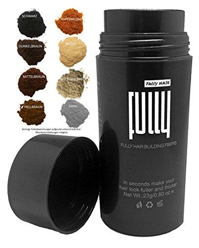 FULLY Hair Fibers - Schütthaar - Streuhaar zur Haarverdichtung bei lichtem Haar- Premium Qualität in Sekunden volles Haar - 23g (Mittelbraun)