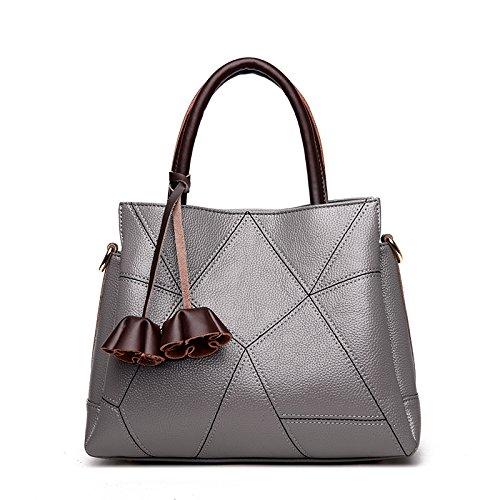 LiZhen nuovo di mezza età femmina retrò casual pacco madre è una borsa elegante e semplice il flusso di pacchetti spalla su confezioni, blu Grigio