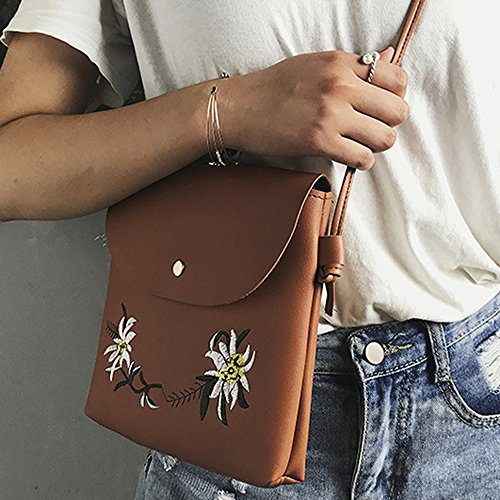 Tasche Bags Loveso Damen Mode Niedlich Blumenmuster PU Leder Mini Messenger Taschen Stickerei Crossbody Schultertaschen Handtasche Kleine Body Bags (Schwarz) Braun