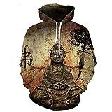 2018 Neue Art und Weise kühle Sweatshirt Hoodies Männer Frauen 3D-Druck Buddha-Statue T-Shirt heiße Art Streetwear Langarm Kleidung, XL