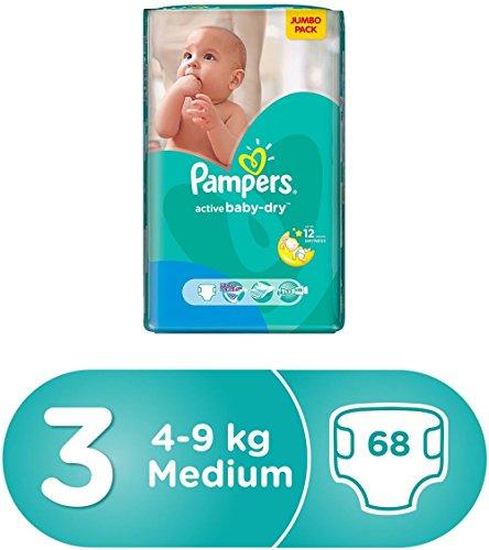 PAMPERS ACTIVE BABY DIAPERS (3) - MEDIUM - 68 (UAE)