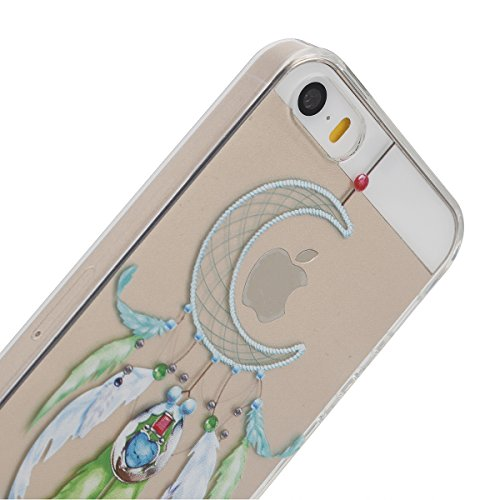 iphone 6s plus Transparent Housse,Silicone TPU Gel Etui pour iphone 6 plus,Ekakashop Jolie Design Ultra Mince Soft Souple Arrière Cristal Clair Gel TPU Bumper Case Coque de Protection Couverture Swag  Lune Campanula G