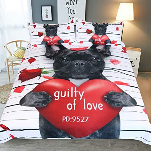 WLWWY Cupid Dog Muster Bedding 3D-Druck Halloween Bedding Bettdecke Mit Flachem Blatt 3-Teilig Ausgezeichnetes Gefühl Soaft Und Komfortabel 1 Bettdecke, 2 Kissenbezüge,Full203cmx228cm