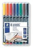 Staedtler Lumocolor 318, Feutres permanents à pointe fine pour toutes les surfaces, Sans xylène ni toluène, Set de 8 couleurs lumineuses, Pointe ogive de 0.6 mm, 318 WP8