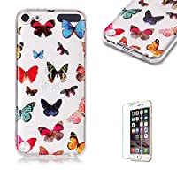 For iTouch 5/6 Case [with Free Screen Protector],Funyye Fashion lovely Lightweight Ultra Slim Anti Scratch Transparent Soft Gel Silicone TPU Bumper Protective Case Cover Shell for iTouch 5/6 - Butterfly