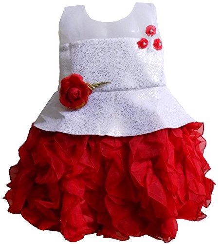 ALL ABOUT PINKS' Premium Couture Collection Birthday Frock Party wear Tutu Dress for Girls in Soft Scuba Fabric (3-4 Years, Red)