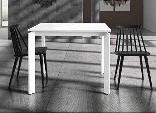 InHouse srls Table en Bois avec Pied en Metal cm. 90X90 avec 1 rallonge cm. 60; avec rallonge cm. 250x90