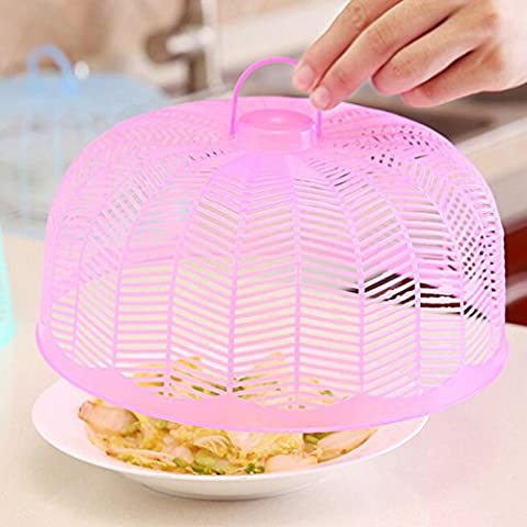 iHee Kitchen Food Cover Picnic Barbecue Party Fly Vented Mosquito Net with Handle (4.7 x 9.8 Inches, Pink)