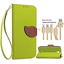 SongNi®+Free Gifts Multifunctional Data Line PU Leather Wallet Funda,Leaf shape Magnetic Closure,Card Slot,Wallet,Stand,Flip leather Funda for Alcatel Onetouch Pixi 4 3G 5010D 5.0 inch-Green