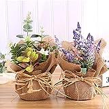 Ritapreaty Burlap in Vaso Fiore Finto Fiore Artificiale Bouquet da Sposa Decorazione Nuziale Confezione da 2 Pezzi (Colore Casuale)