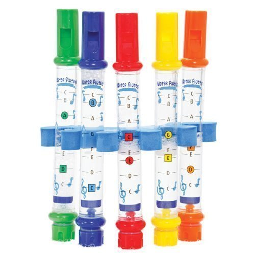 5 WATER FLUTES HOLDER MUSIC SHEETS FUN FOR KIDS BATH TUB TUNES SOUND TOY