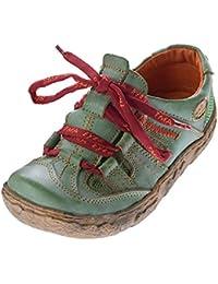 Damen Leder Halb Schuhe Used Look Comfort Sneakers Grau Grün Weiss Rot Turnschuhe TMA Eyes