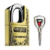 Vorhängeschloss mit Schlüssel, diebstahlsicher, aus gehärtetem Stahl, Vintage-Look, von Mindy - AF4, bronze