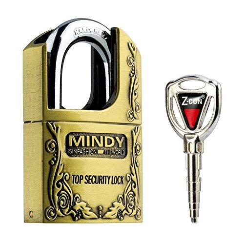 Mindy - Candado de alta seguridad antirrobo, acero, color bronce, estilo vintage, con llaves AF4, marrón