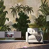 REAGONE décoration murale Rétro style européen Tropical Rain Forêt végétale Fond d'écran 3D photo Peintures murales Salon, 350X245 cm (137,8 par 96,5 In)