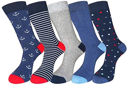 FULIER Mens 5 Pack Baumwolle Rich Smart Design Bunte bequeme Kleid Calf Socken UK 6-13 EUR 39-47 (Farbe 11) (Kleid Gerippte Socken)