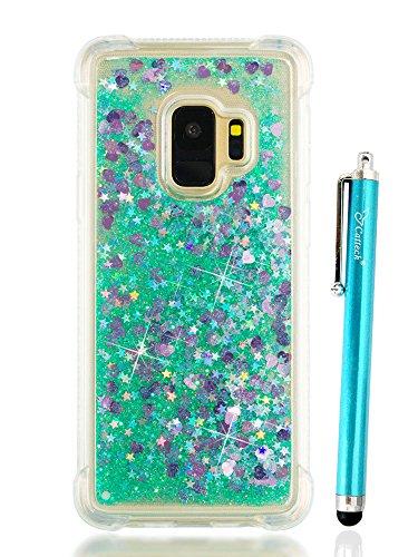 Galaxy S9Hülle Glitzer, cattech Liquid Glitzer Bling Sparkle glänzend beweglicher Quicksand-Slim Clear TPU Bumper Schutz rutschfeste Grip Handy Stoßfest Cover für Samsung Galaxy S9, grün Samsung Super-slim