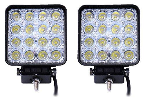 QXXZ 2 Stücke 48 Watt LED Arbeitsscheinwerfer Flut Offroad Fahren Nebelscheinwerfer Für LKW Auto 4X4 Traktor ATV Jeep Flood Beam 12 V (4 4 Atv X)