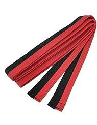 Ceinture de Taekwondo - SODIAL(R) Rouge Noir Arts Martiaux Karate Taekwondo Judo Ceintures 260 cm de Long