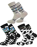 6 Paar Kuh Socken aus Baumwolle mit Elasthan