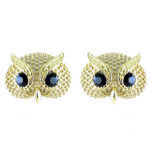 Ohrringe Eule vergoldet Weiß/Schwarz (Nacht Eule 2 Kostüm)