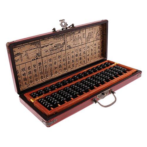Sharplace Ábaco Aritmético Conteo de Granos de Madera Estilo Chino Vintage - 15 Barras: 36x13x2.6 cm