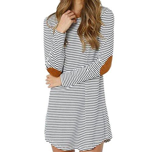 LSAltd Herbst Stripes O Neck Langarm Casual Kleid für Damen (Weiß, (Kleid Weißen Schnee)