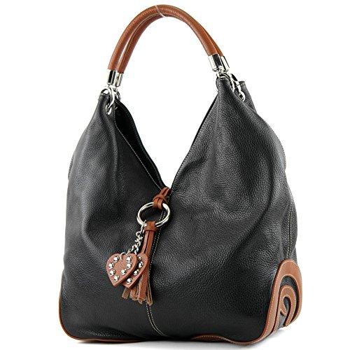 modamoda de - ital. Ledertasche Handtasche Shopper Damentasche Schultertasche Leder 330, Präzise Farbe:Schwarz/Cognac (Italienische Handtasche)