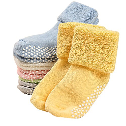 CHIC-CHIC 6 Pairs Toddler Newborn Baby Socks Anti Slip Thick Warm Soft Ankle Socks