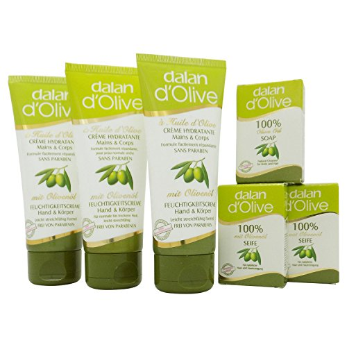 dalan-d-olive-3-x-250-ml-feuchtigkeitscreme-fur-hand-und-korper-3-x-25-gramm-gasteseife-mit-olivenol