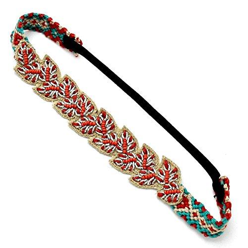 Mano Lujo Boho Hippie pelo banda elástico cinta tejida turquesa beige perlas rojo alambre Plata