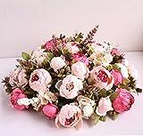 StarLifey Künstliche Blumen, Altmodische Pfingstrosen kunstblumen, aus Seide für Hochzeit Heim-Dekoration, 1 Stück hellrosa - 4