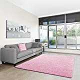 Shaggy-Teppich | Flauschiger Hochflor fürs Wohnzimmer, Schlafzimmer oder Kinderzimmer | einfarbig, schadstoffgeprüft, allergikergeeignet in Farbe: Rosa; Größe: 160x230 cm