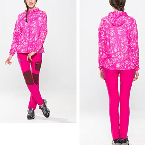 Zhuhaitf Haute qualité Womens Outdoor Windproof Quick-dry Zipper Hoodie Jacket Sweatshirt Tops Rose Red