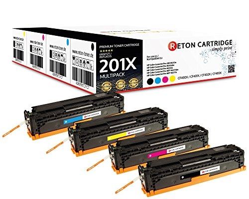 4 Original Reton Toner, kompatibel zu CF400X CF401X CF402X CF403X 201X für HP Color Laserjet Pro 200 M252n, M252dw, MFP M277dw, MFP M277n MFP M274n  3.850 Seiten Schwarz,3.880 Seiten Color -