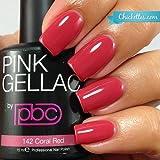 Pink Gellac 142 Coral Red UV Nagellack. Professionelle Gel Nagellack shellac für mindestens 14 Tage perfekt glänzende Nägel