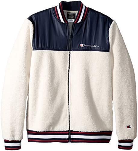 Power-baseball-jersey (Champion Life Herren Sherpa Baseball Jacket Isolierte Jacke, Quartz Cream/Navy, Mittel)