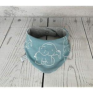 Baby Halstuch Dreieckstuch Elefanten Mint Grau handmade Puschel-Design