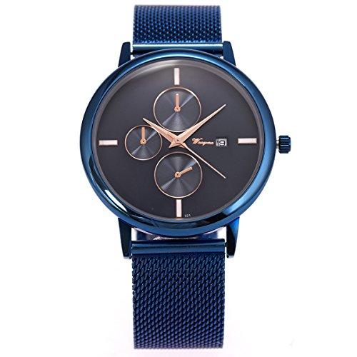 SIBOSUN Armbanduhr Blau Mesh Edelstahl Band ultra-dünnen Datum Kalender minimalistisches japanische Männer Japanese Quarzwerk wasserdicht (2. Halloween Schreiben Klasse)