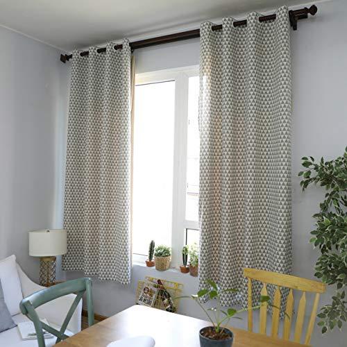 GZ-curtain Wohnzimmer Vorhänge - einfache Moderne geometrische Baumwolle Vorhänge Halbschatten Druck - grau 140 * 215 cm